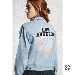 Forever21 Los Angeles Girl Squad Jean Jacket Large